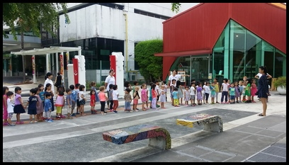 We arrived at the Singapore Art Museum at Queen Street and the children were excited to see Miss Andrea. She gave the children a tour around the exhibit.