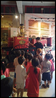 The children were then led to the very first horse drawn steam fire engine that was used in Singapore, the Merryweather Steam Fire Engine. This steam engine ran on burning coals and was able to raise pressure quickly to produce powerful jets of water.