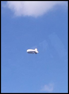 We saw a blimp on the way there and back.