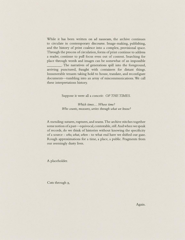OF THE TIMES,  screen print, risograph & letterpress, edition 30, 2017.