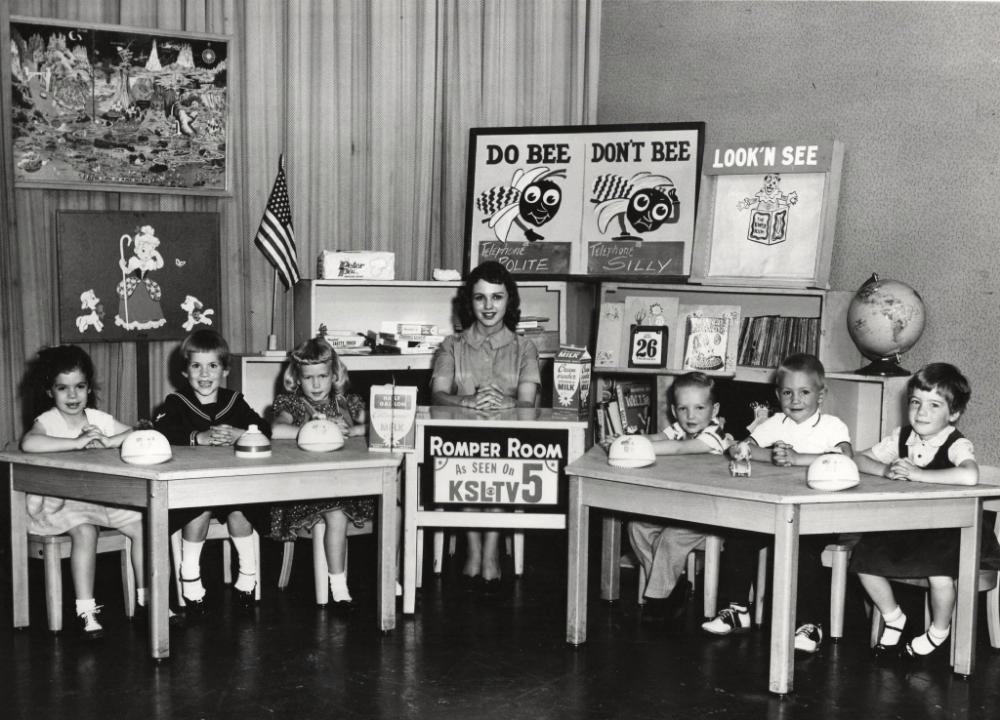 "Patrice (sitting on the far left) on ""Romper Room""."