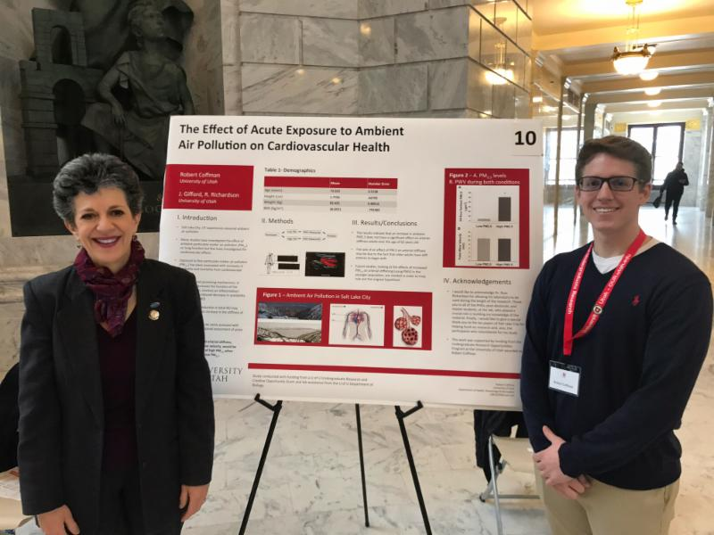 Research posters on air quality issues by Nicole Burnett and Robert Coffman, University of Utah students