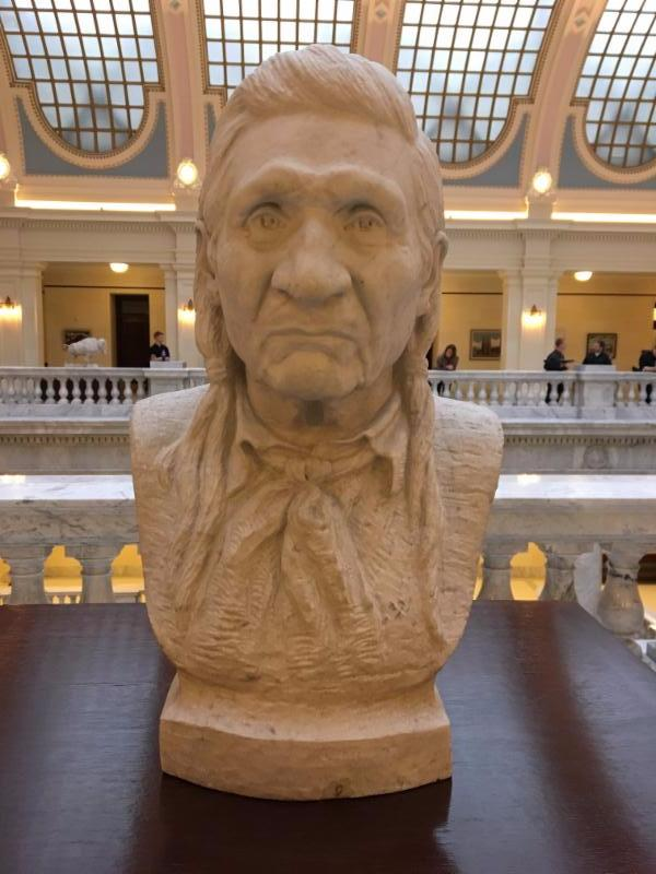 A marble bust of Ute Chief John Duncan by Millard F. Malin. Duncan served as a liaison between Native American tribes and the US government following the Civil War.