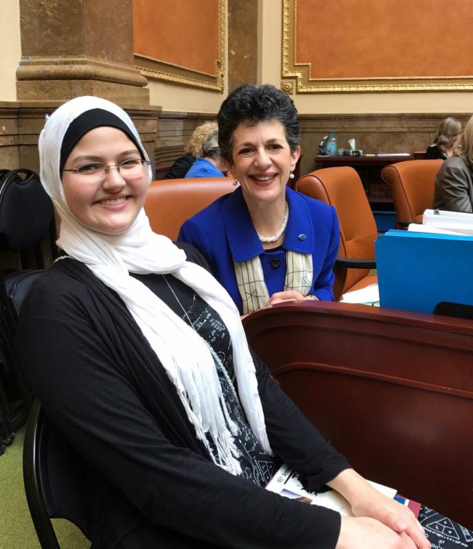 Maryam Kergaye, a student from the Academy for Math Engineering and Science, joined me in the House Chambers after being acknowledged for her award-winning art.