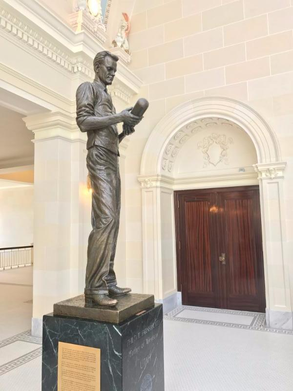 Philo T. Farnsworth is credit as the inventor of the modern television, which he pioneered in Utah. This same statue can also be found in the United States Capitol.
