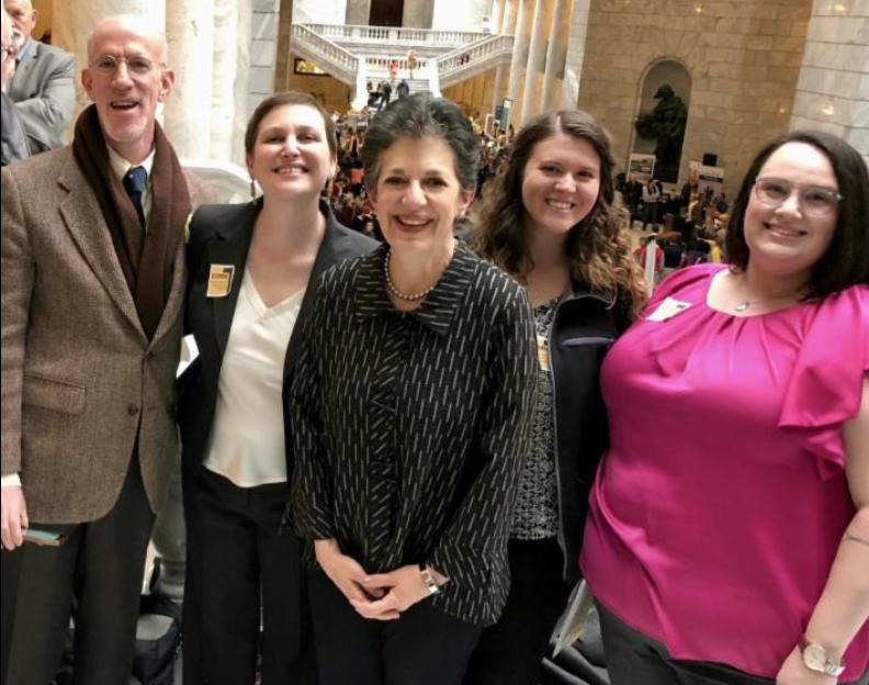 Rep. Arent with Rabbi Ilana Schwartzman and members of Congregation Kol Ami