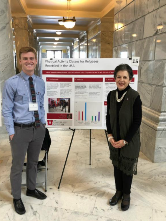 U of U student Mitch Johansen and Representative Arent at Research on Capitol Hill day