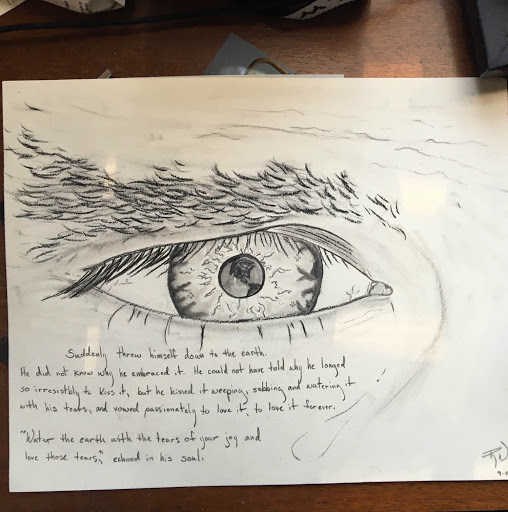 Art by  Ryan West , based on one of Nate's favorite Dostoevsky passages. Ryan started  Uniquely Ordinary , a collective dedicated to opening lines of honest and open conversation about mental health and depression, and speaking truth into a void where truth is much needed. Check out their page and donate to help them reach their goal of nonprofit status  here .