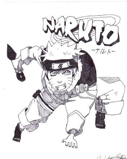 Naruto art by  Miles Sipes , and it may be one of our favorite pieces of fan art EVER. Fan art is a unique expression of devotion and love to something unlike any other form of art. It tells you more about the artist than the subject - the more wholehearted the fandom, the more you'll learn about the fan. In our eyes, being called a fan is one of the highest compliments we can bestow on anyone. Cheers to fanboys and fangirls everywhere, starting with Miles.