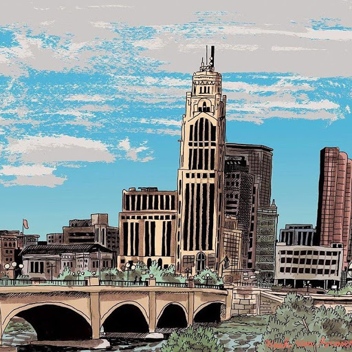 A beautiful portrait of Columbus, Ohio by  Noah Van Sciver . Check out more of his work on his  Instagram !