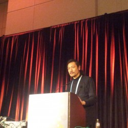 Koji Igarashi sul palco della GDC.