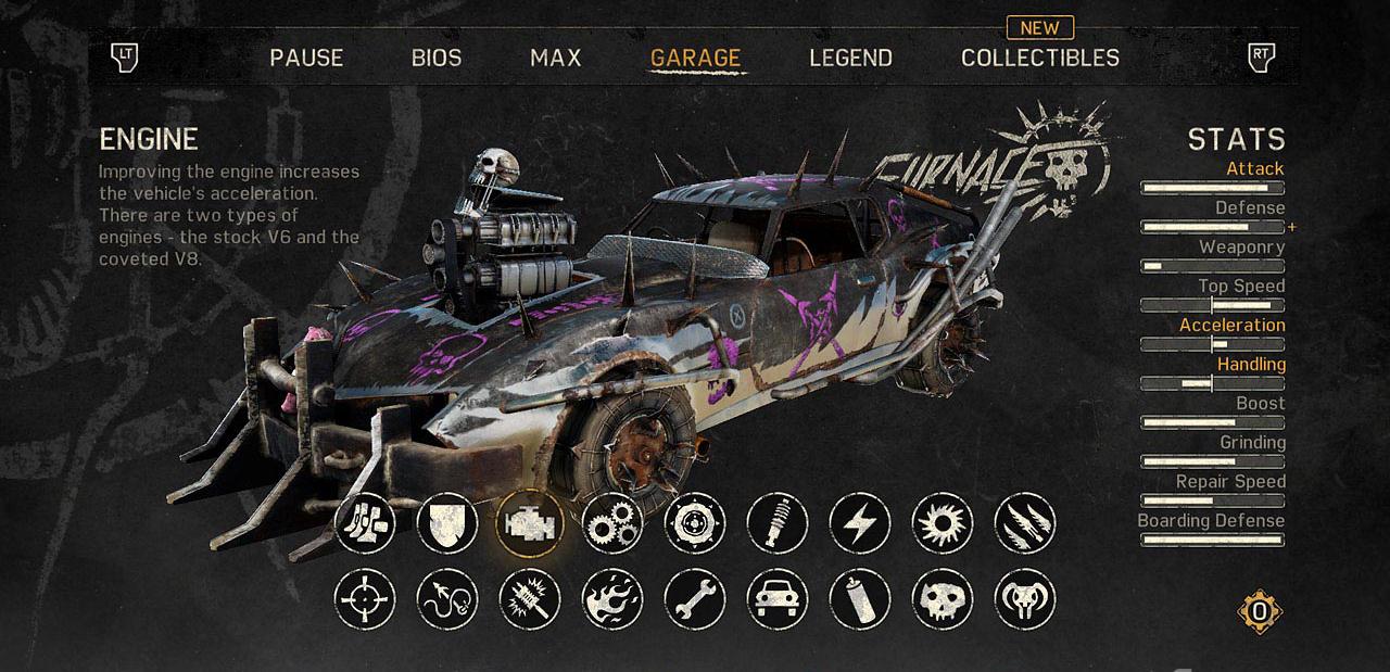 Spendendo i rottami è possibile migliorare la Magnus Opus, aggiungendo armi, rostri, motori, ruote e chi più ne ha più ne metta. What a lovely car!