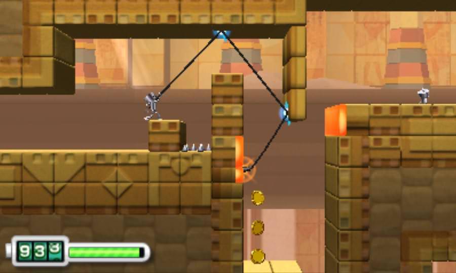 2) In tutto il gioco sono numerosissime queste sezioni dove bisogna caricare il rampino e farlo rimbalzare tra le pareti cercando di beccare il punto dove potersi attaccare. Divertente, eh!