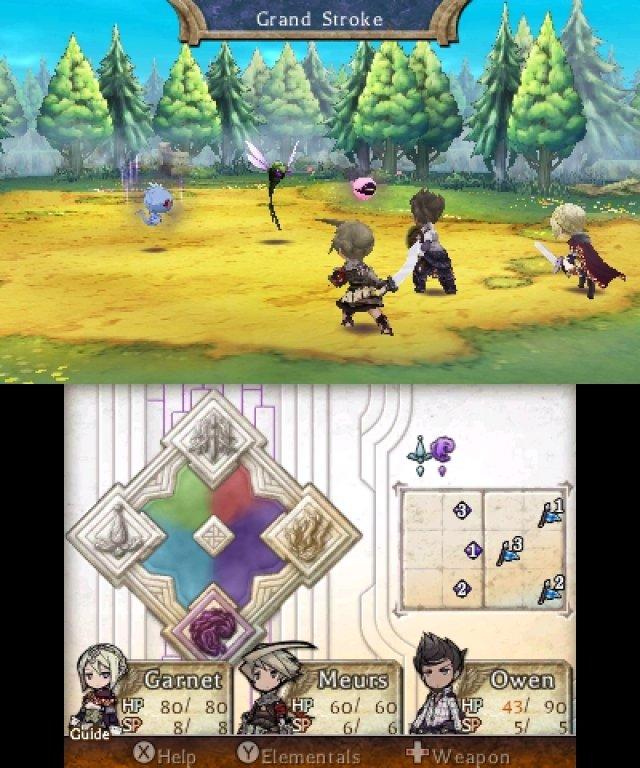 Lo schermo in basso indica, tra l'altro, il dominio sugli elementi. Il nemico qui controlla l'ombra e l'acqua, quest'ultima utilissima per recuperare energia tra i turni di attacco.