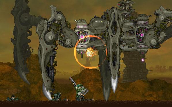 Gigantic Army tiene fede al suo nome, con nemici più grandi della vita composti da più sprite.