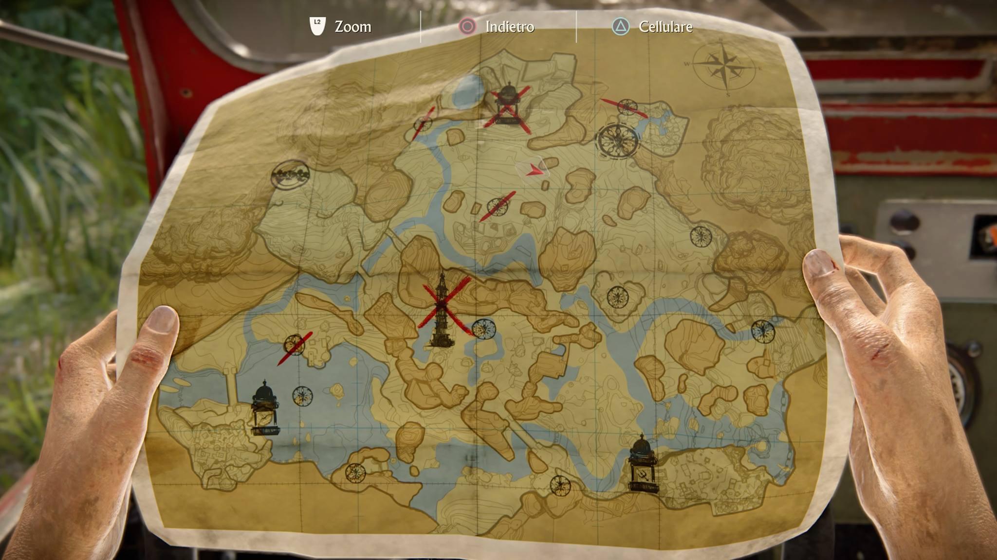Ecco la mappa della valle che Chloe modificherà prontamente dopo ogni scoperta, ricordatevi sempre che la X segna il punto.