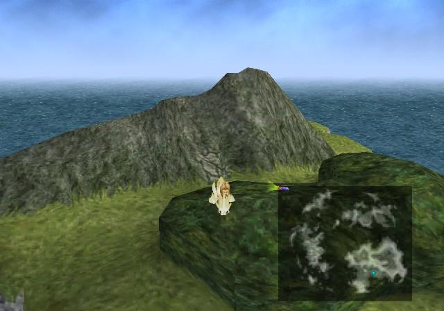 L'isola in questione, a nord-ovest della mappa: il bosco, la radura, la montagna, la stramaledetta crepa.