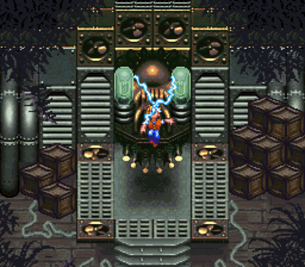 Il macchinario che risucchia il Marty dei Poveri dentro Evermore. Lo sfondo e le casse non seguono nemmeno le stesse regole prospettiche, ma è comunque bellissimo.