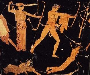 Apollo e Artemide vs. i Niobidi in una delle prime strisce della Justice League.