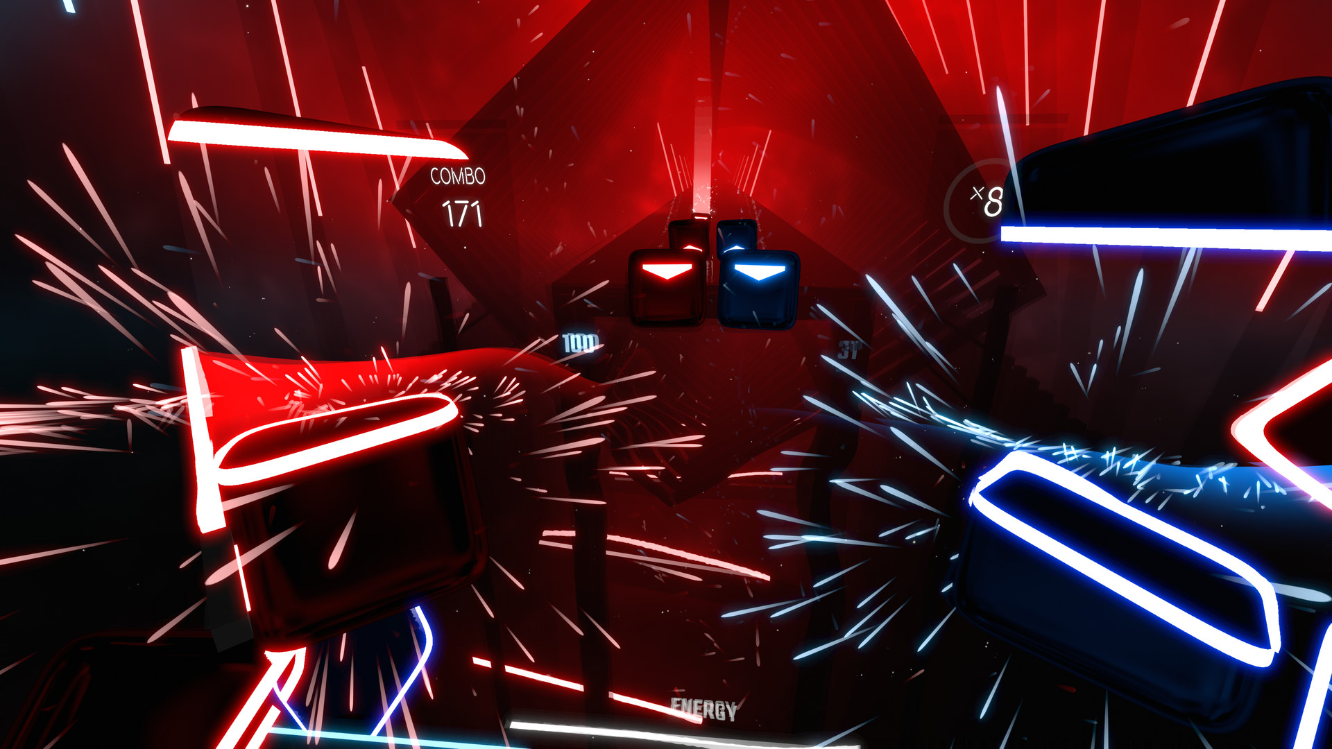 È tutto un tripudio di effetti particellari neon, in piena ottemperanza alle regole di chiarezza visiva anni Ottanta del mondo VR.