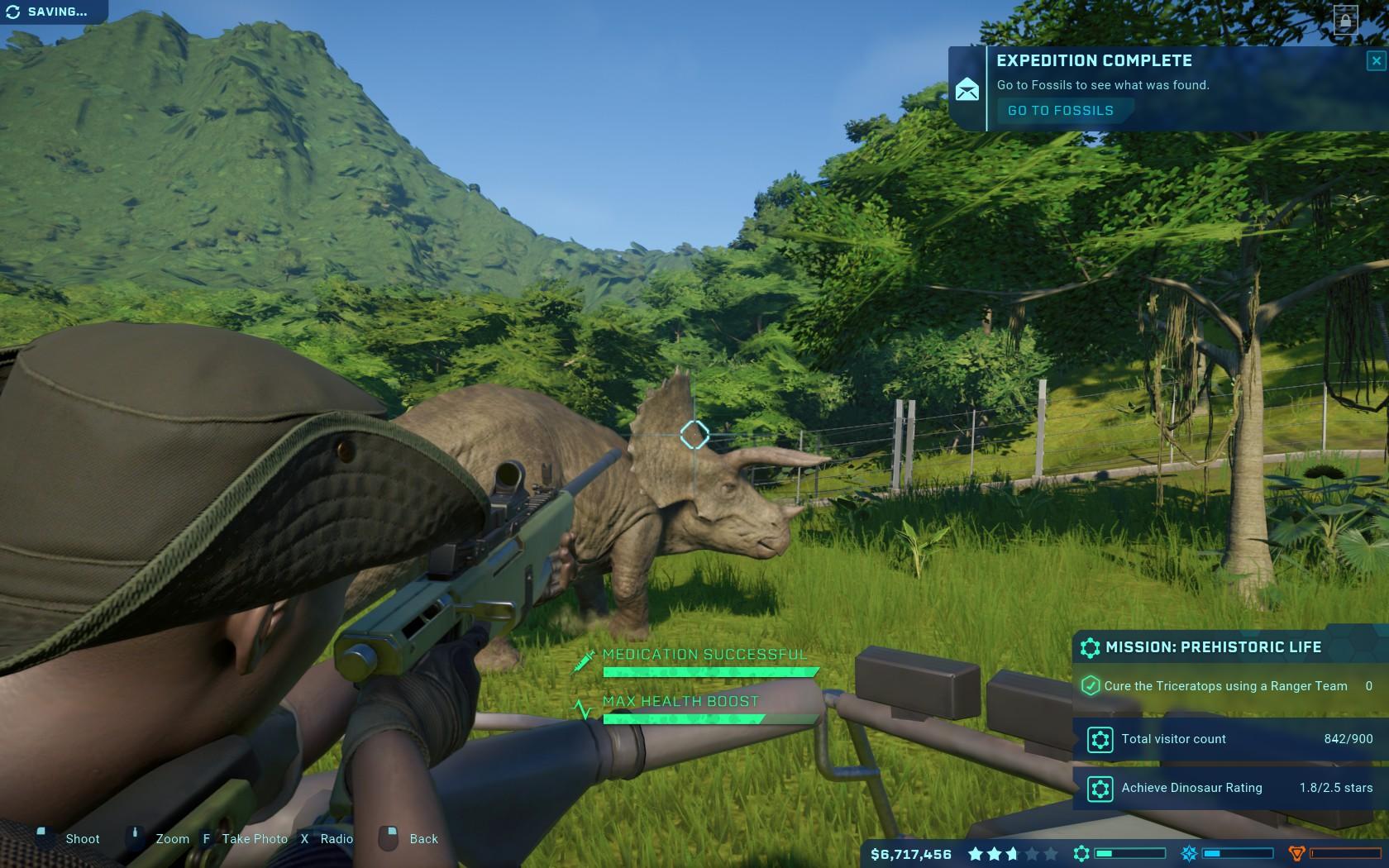 Le missioni presenti nel gioco toccano più o meno tutte le attività che è possibile svolgere. In questo caso dovevamo occuparci di curare un Triceratopo.