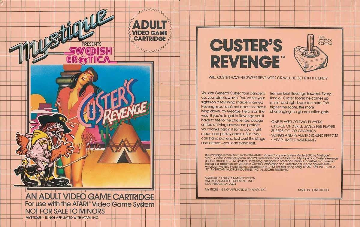 L'elegante copertina di  Custer's Revenge:  la ragazza è evidentemente consenziente.