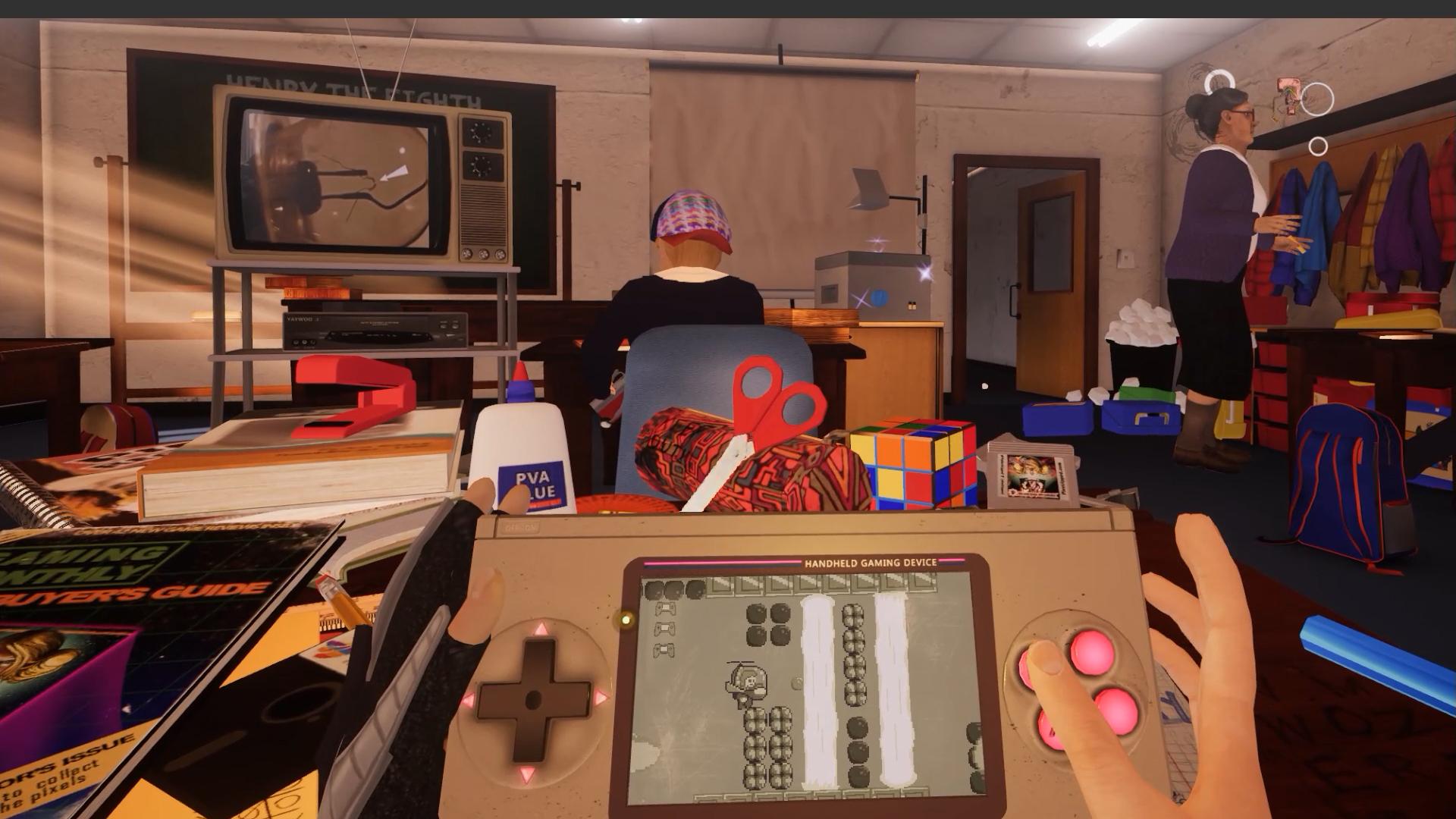 Distrarre la maestra per riuscire a finire il gioco, un amabile e a tratti frustrante mix di  Mega Man, Alex Kidd  e  Ghost n' Goblins,  è lo scopo principale del primo livello.