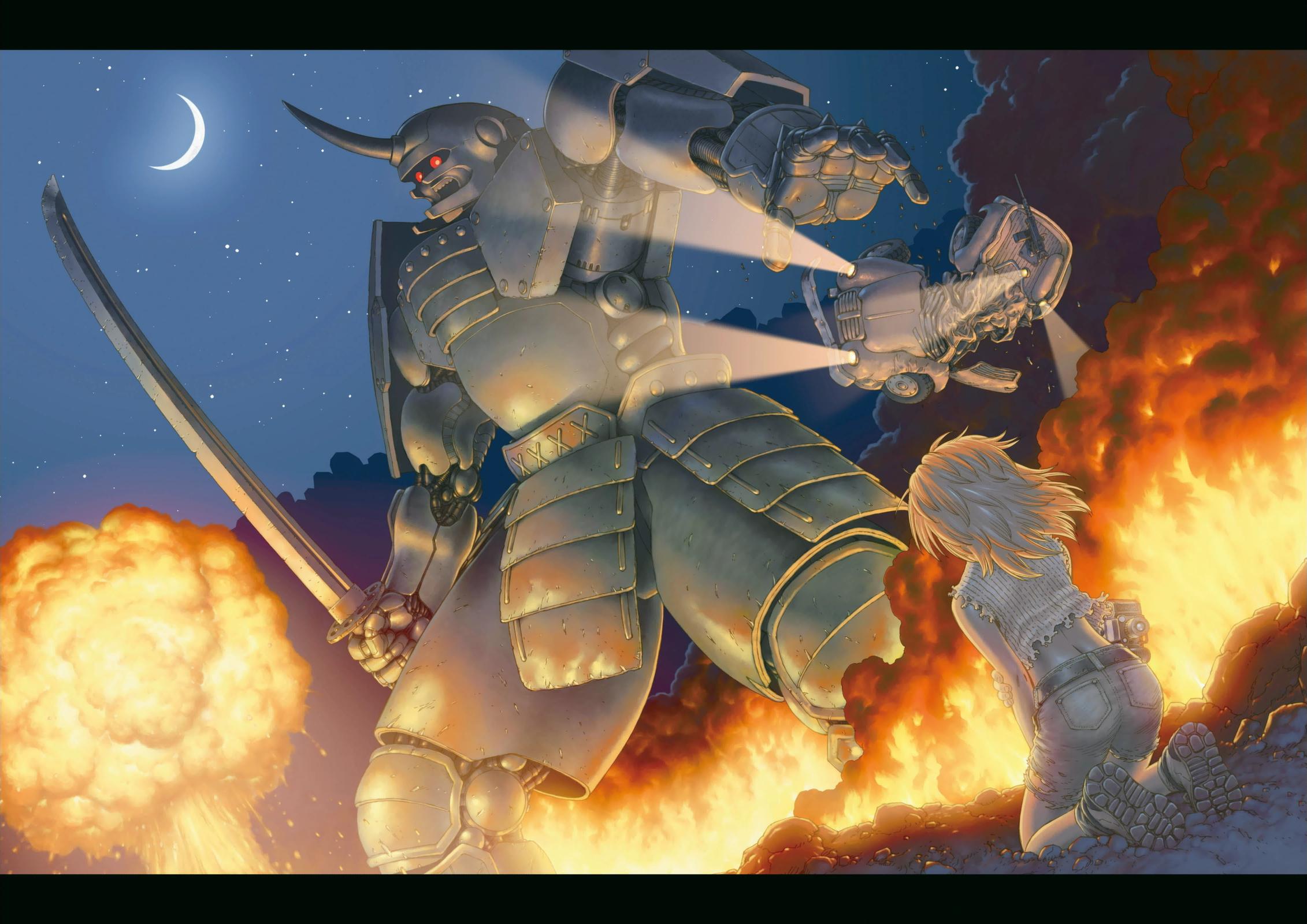 Il fuoco e l'acciaio sono due elementi chiave, nell'immaginario di  Alita .