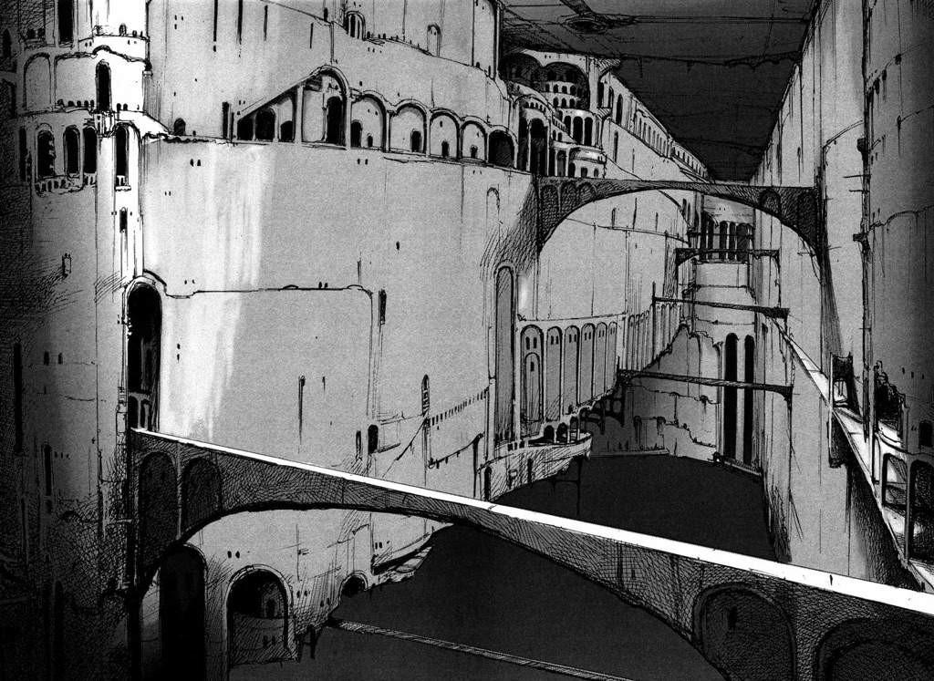 Talvolta, pietra e cemento si alternano all'infinità di architetture meccaniche che caratterizzano gli ambienti.