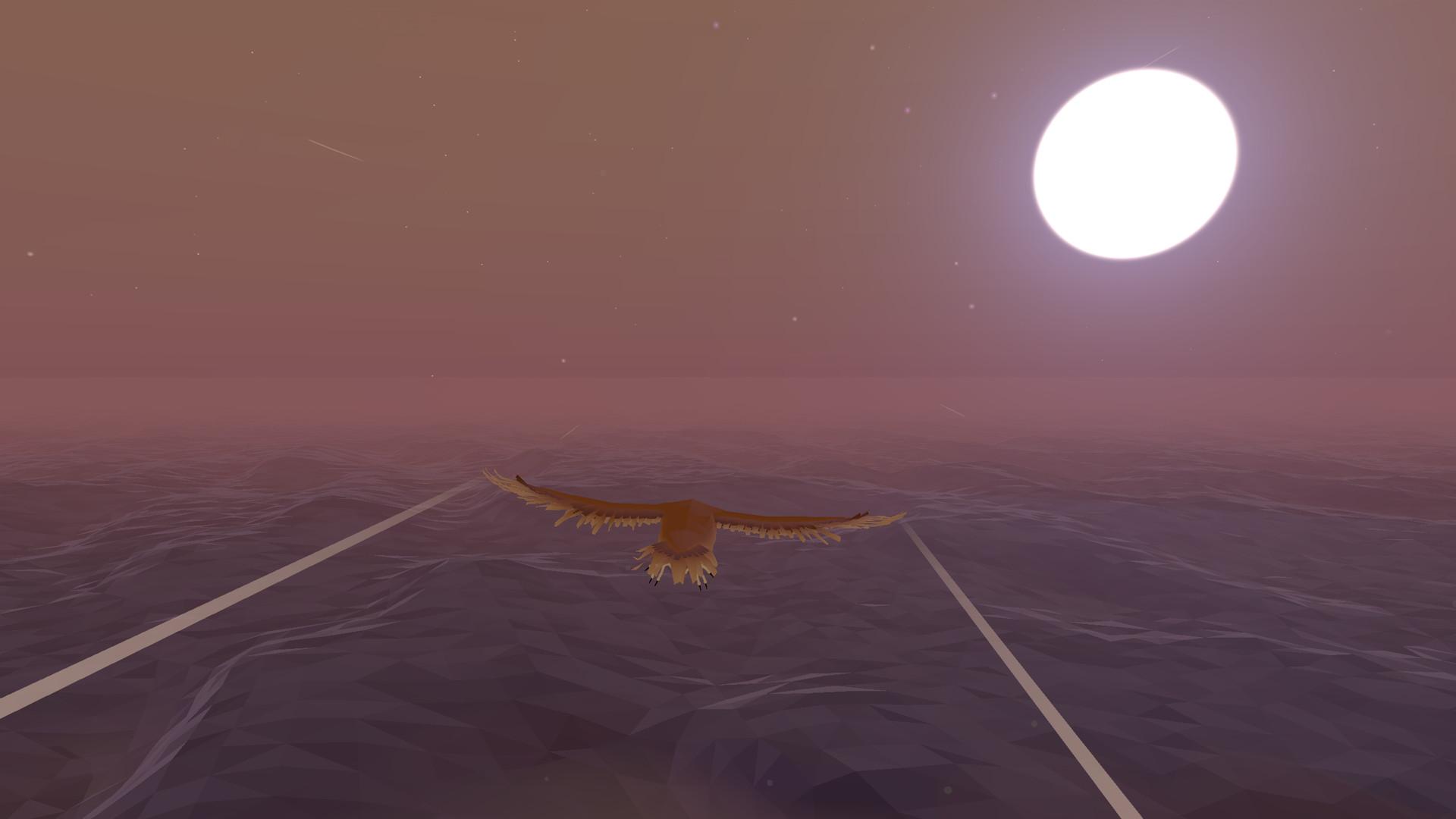Qui, invece, è la parte in cui si vola come uccello sopra il mare attorno all'isola.