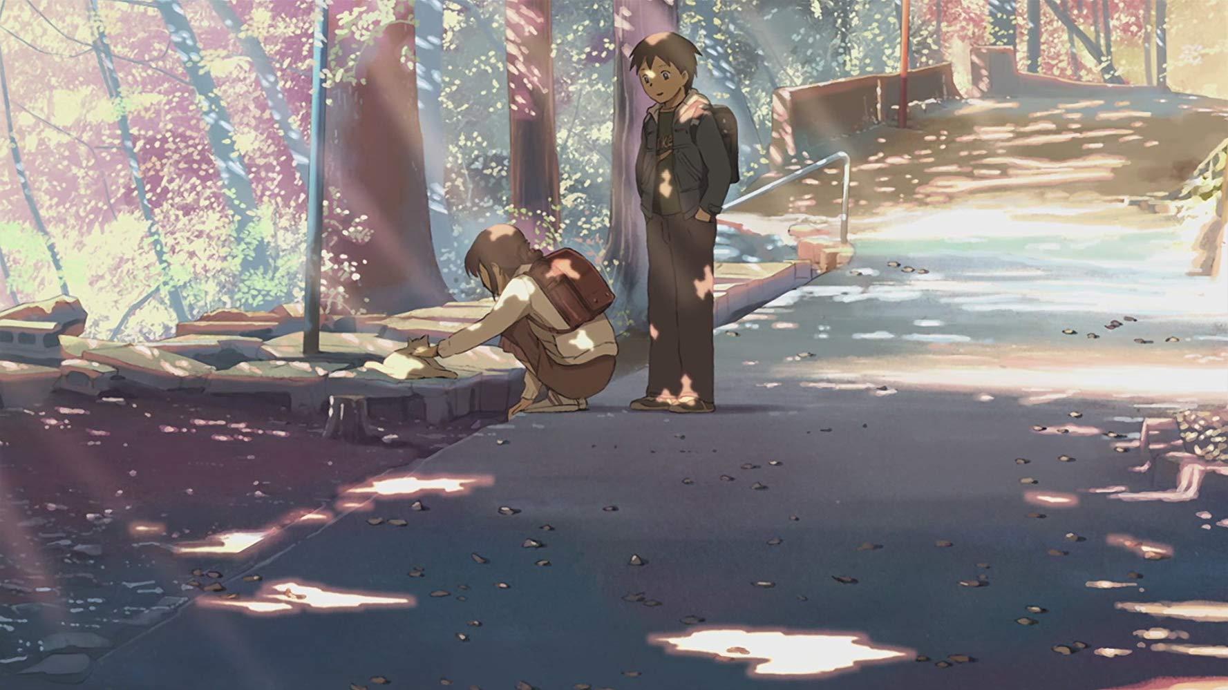 Takaki e Akari, ancora bambini.