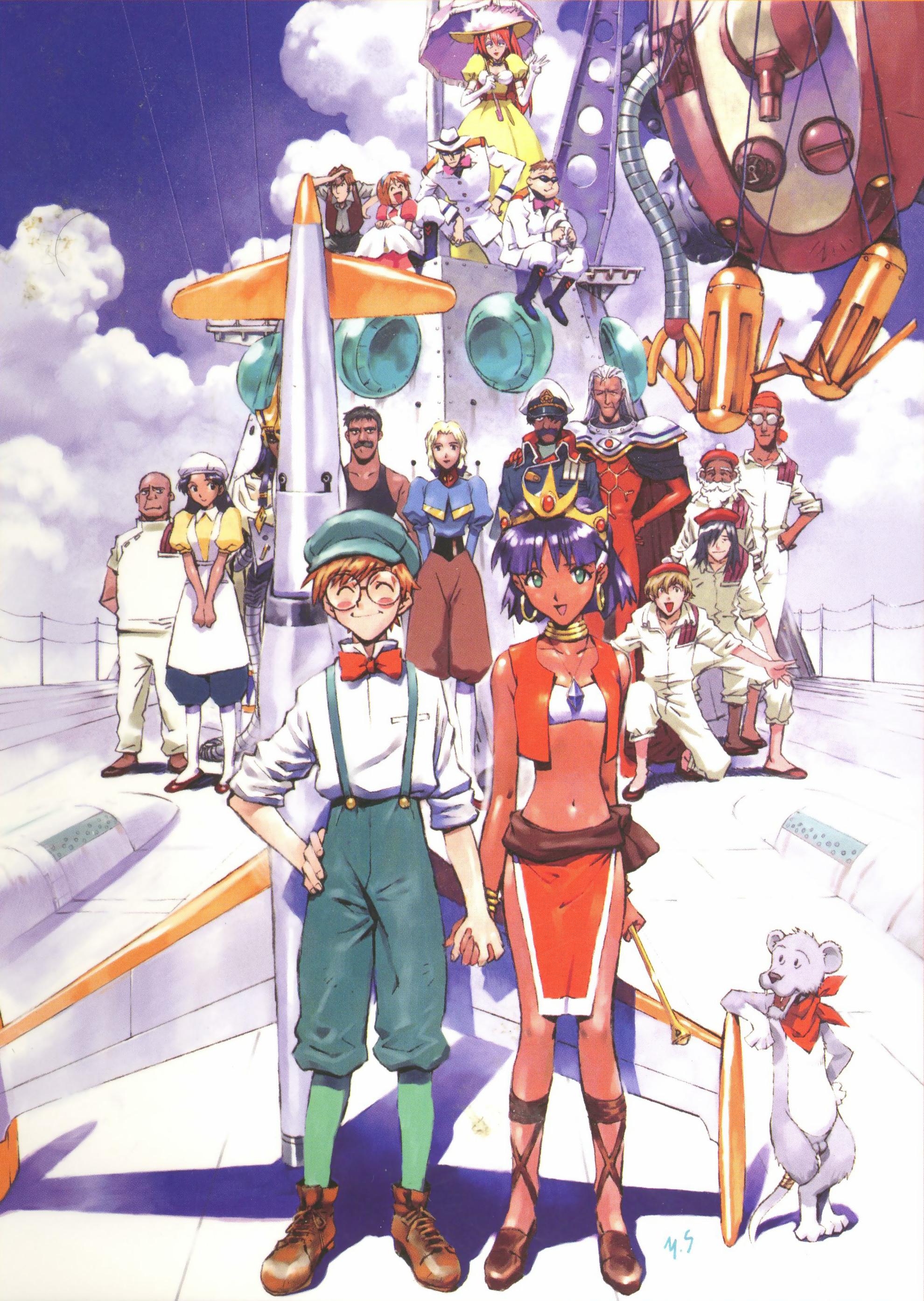 I personaggi dell'anime in un'illustrazione di Yoshiyuki Sadamoto.