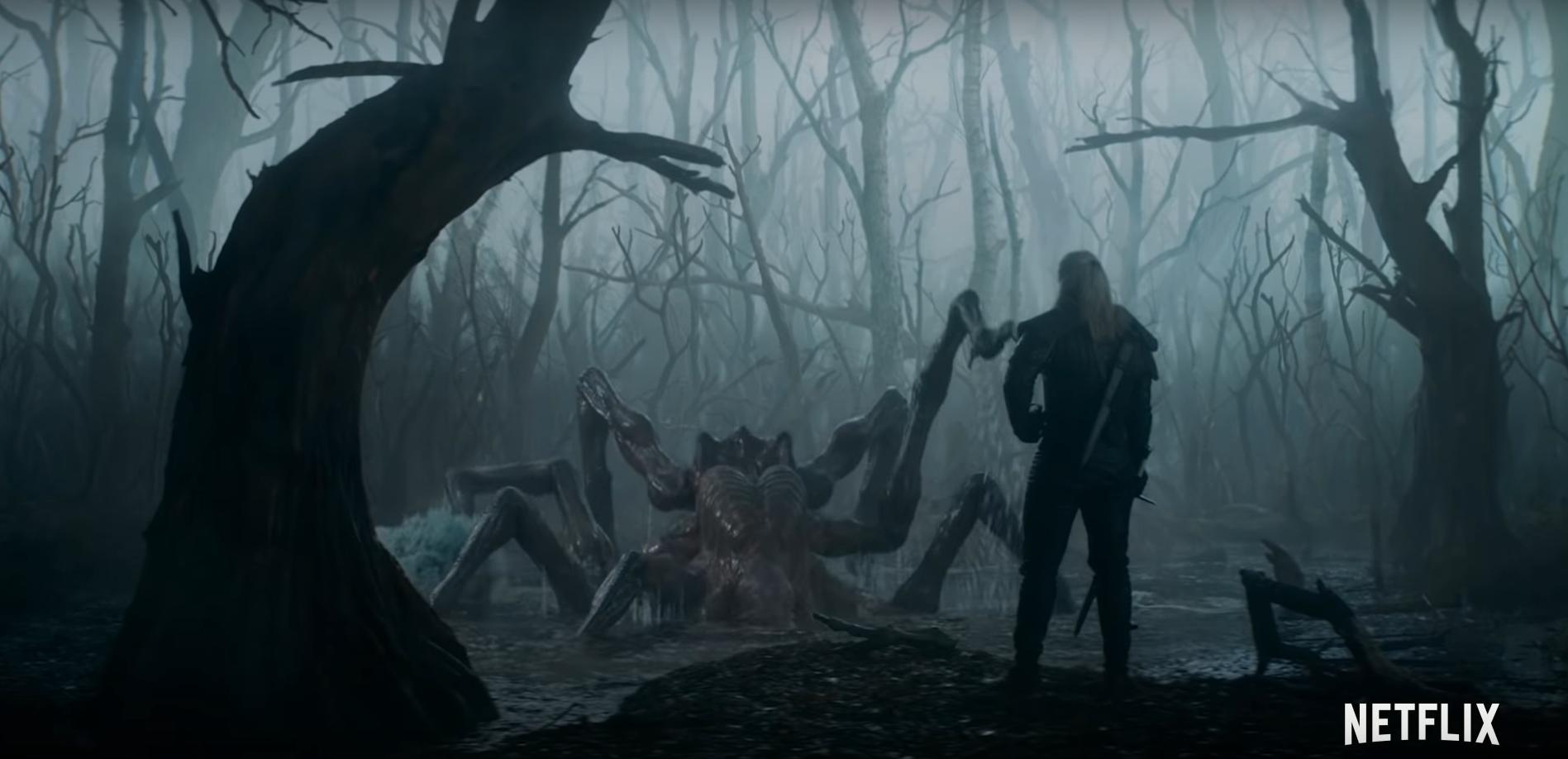 Il teaser culmina con una sequenza veramente epica, un Geralt immobile con tanto di spada d'argento sguainata che attende pazientemente l'emergere di una gigantesca creatura aracnoforme… si tratta di una Kikimora? O una Anfisbena… sembra una battaglia impari.