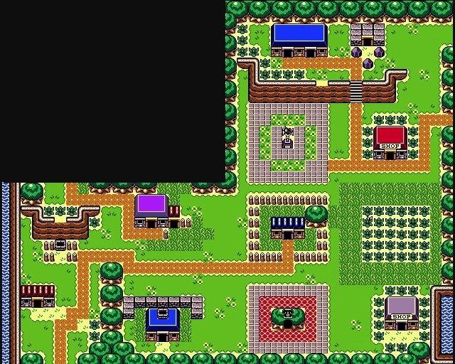 L'intero villaggio (con l'esclusione, per qualche motivo, del laghetto dove si pesca) copre 12 schermate