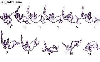 Bozzetti dell'animazione di caduta di Aladdin.