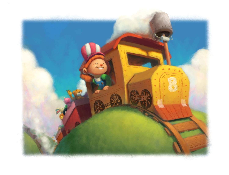 All Aboard The Cardboard Train Illustration