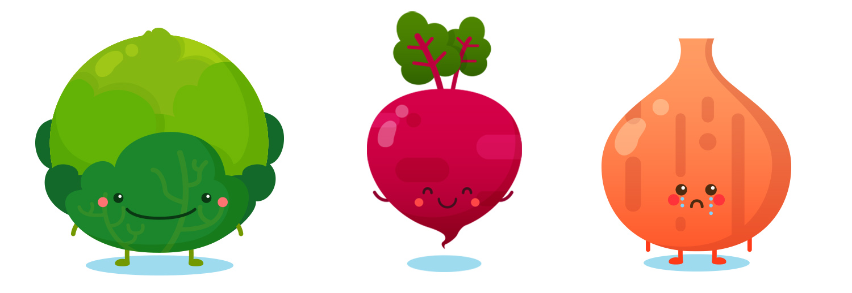 Vegetables (Cabbage, Radish, Onion) - Vector Art