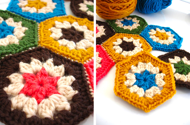 "Hexagonal granny ""squares"" crocheted by Leanda"