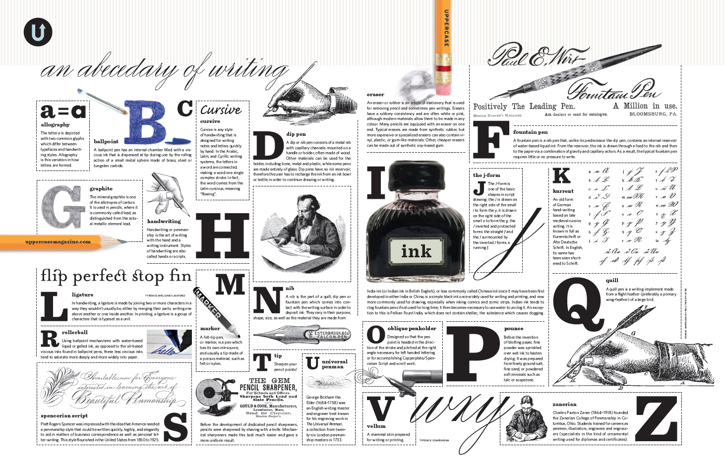 """The Abecedary of Writing"" is a beautiful poster created by UPPERCASE magazine. Download the high-resolution file for free using the button below. You can then print it yourself as an 11x17-inch poster!"