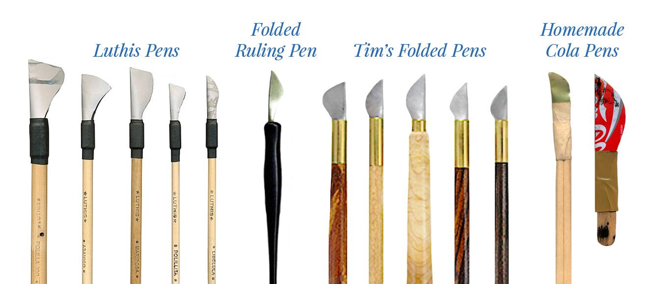 Luthis Folded Pens ,  Artisan's Folded Ruling Pen ,  Tim's Folded Pens ,  Homemade Cola Pens by Paul Shaw