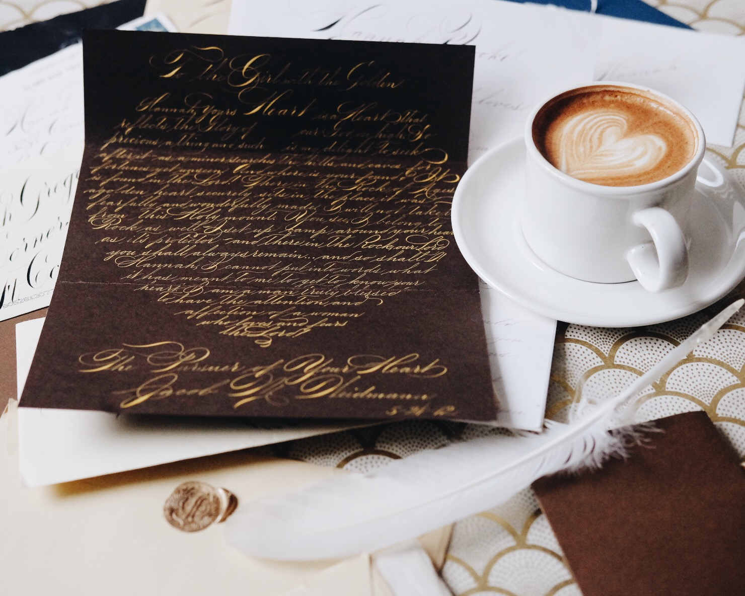"""""""To the Girl with the Golden Heart,"""" this heart-shaped letter begins. Written in gold ink, this is but one example of the love letters Jake wrote to capture his wife Hannah's heart."""