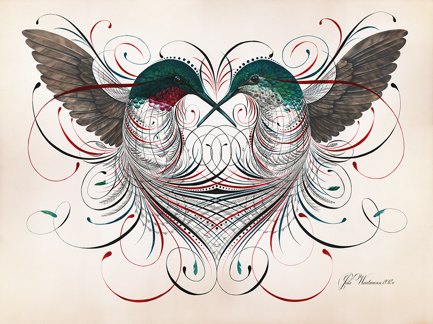 'Humming a Love Song.' The entanglement of line work speaks to the essence of love in combining two separate bodies, male and female, as a unified whole. Acrylic and gouache. 2012.