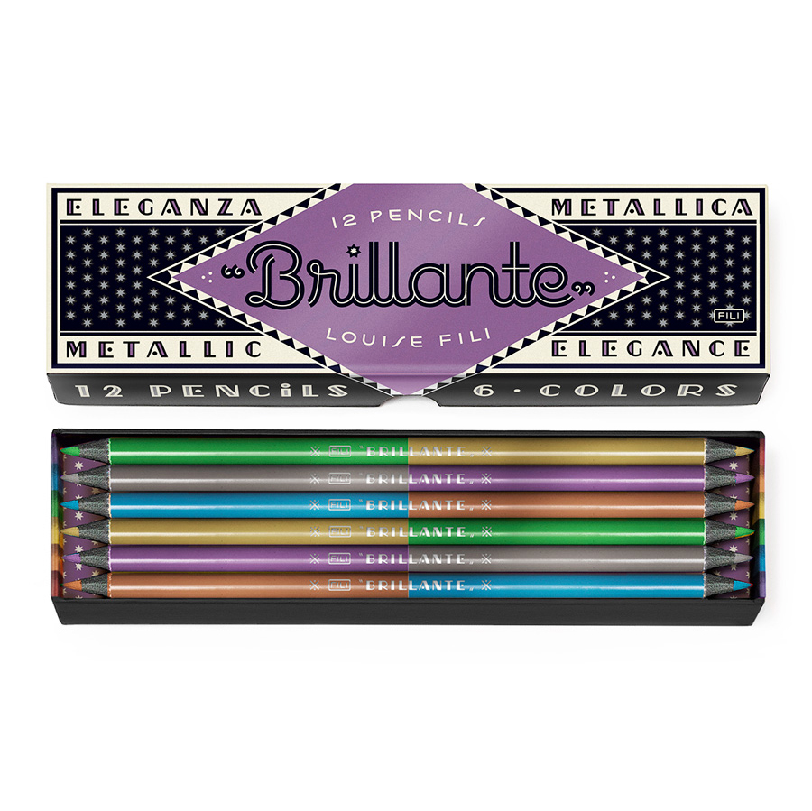 "<p><strong><a href=""http://amzn.to/2gY4gNc"" target=""_blank"">Brilliante Metallic Pencils by Louise Fili</a></strong>$14.95</p>"