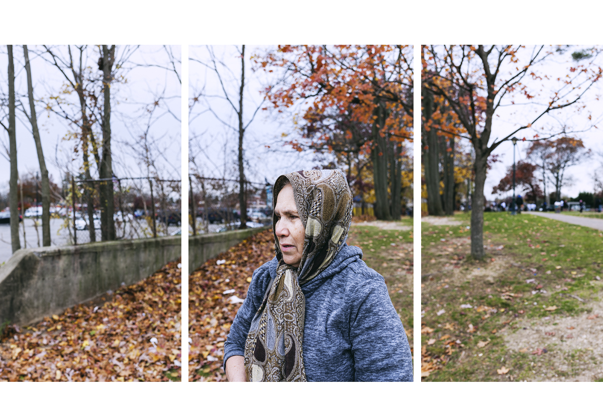 """Rosa Rivera was born in El Salvador, she came to the US in 1988: """"Rarely anyone gives me something. Now I have a jacket and I won't be cold."""" Brentwood, NY. November, 2016."""