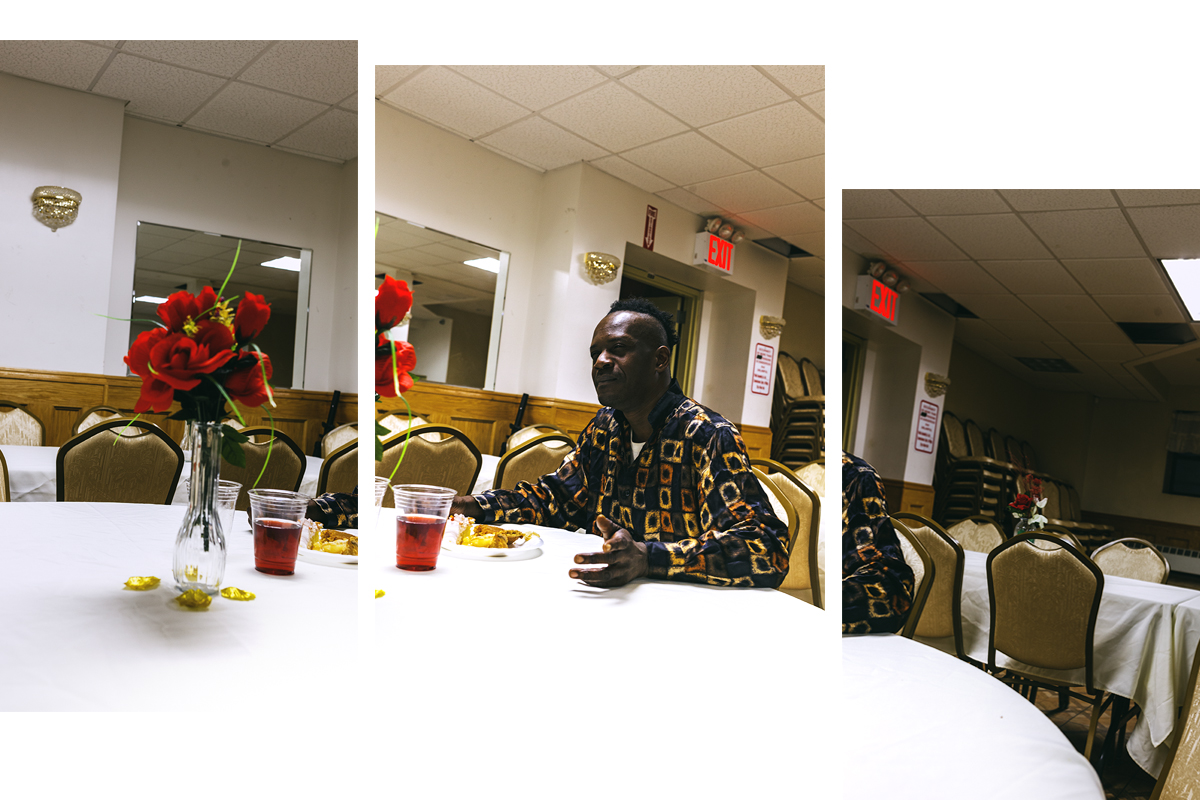 """""""I would like to spend this day with my family, I miss them"""". Troy Douglas spent his Thanksgiving at the Maranatha 7th Day Adventist Church. He was born in Jamaica.  Brooklyn, NYC. November, 2016."""