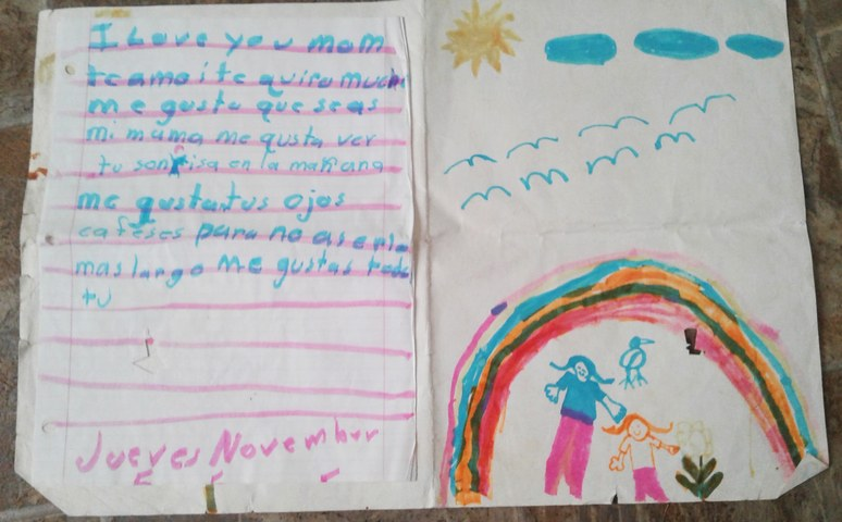 A handwritten letter from Ms. Bustamante's daughter at the age of 6.