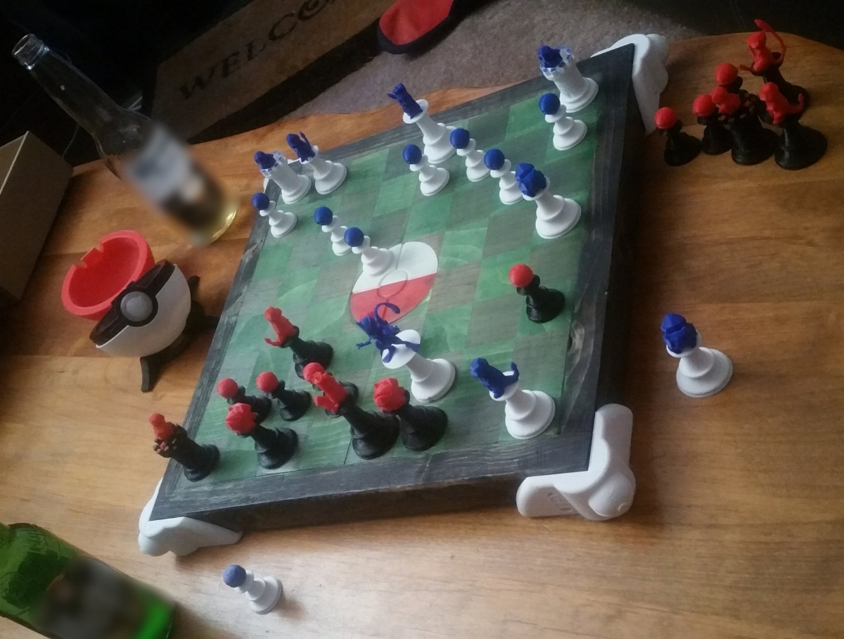 In the first game of Pokemon Stadium Chess, I played for Red/Black Mew and my friend played for Blue/White Mewtwo. I lost. The Mew and Mewtwo were played as Queens, seeing as they would clearly be the most powerful pieces on the board. The Pikachu pieces were played as Kings.