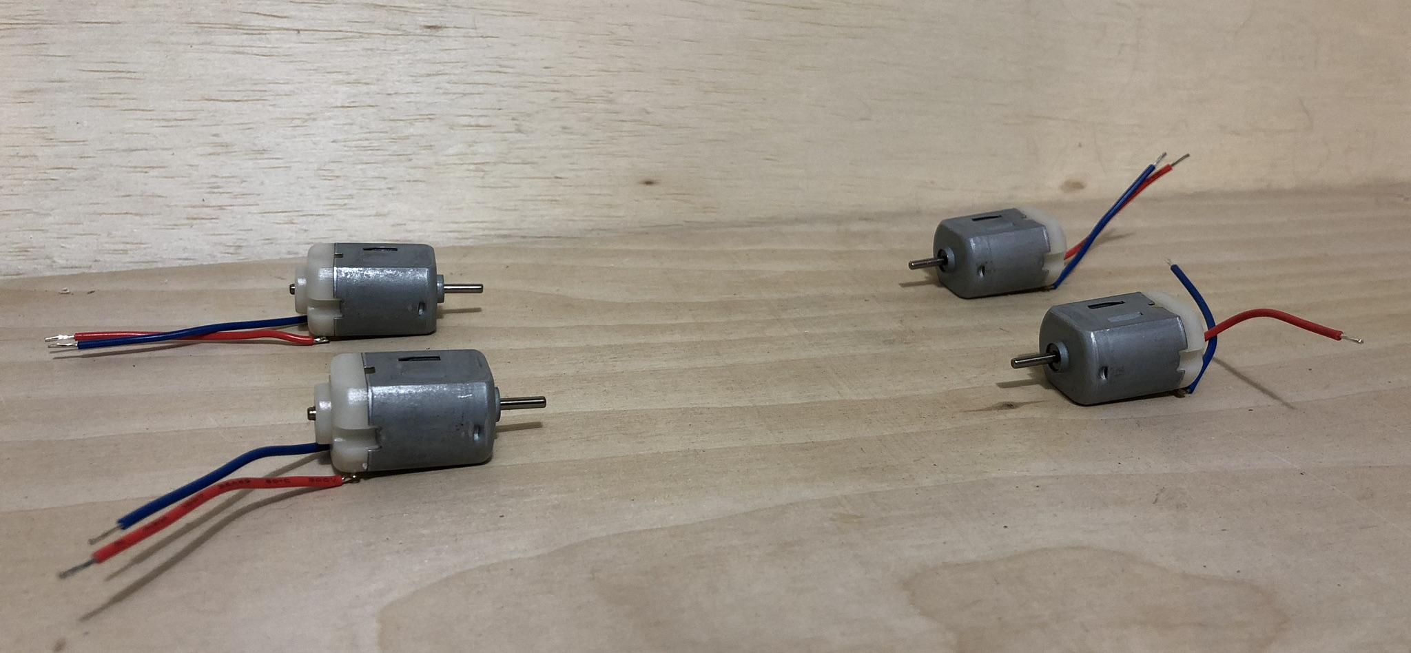 A set of four DC hobby Motors from Adafruit