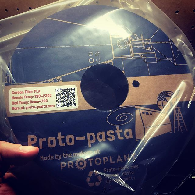 Just got some new #carbonfiber #3dprinting filament in the mail! Very excited to to make use of all those tiny chopped fibers :) What should be my first project with this filament? What should I #3dprint in carbon fiber? Any ideas? Let me know in the comments.  I went with @proto_pasta because they are top of the line filament (and I found a good deal on amazon!). The biggest challenge with this filament will be storage and controlling humidity. The material will want to absorb water, so I'll either need to throw the spool in the oven at the lowest temp for 6-8 hours, or I may need to find a dehydrator. It's the same issue we dealt with on that Nylon part a few posts ago - water is the enemy!  But nothing we can't handle ;)