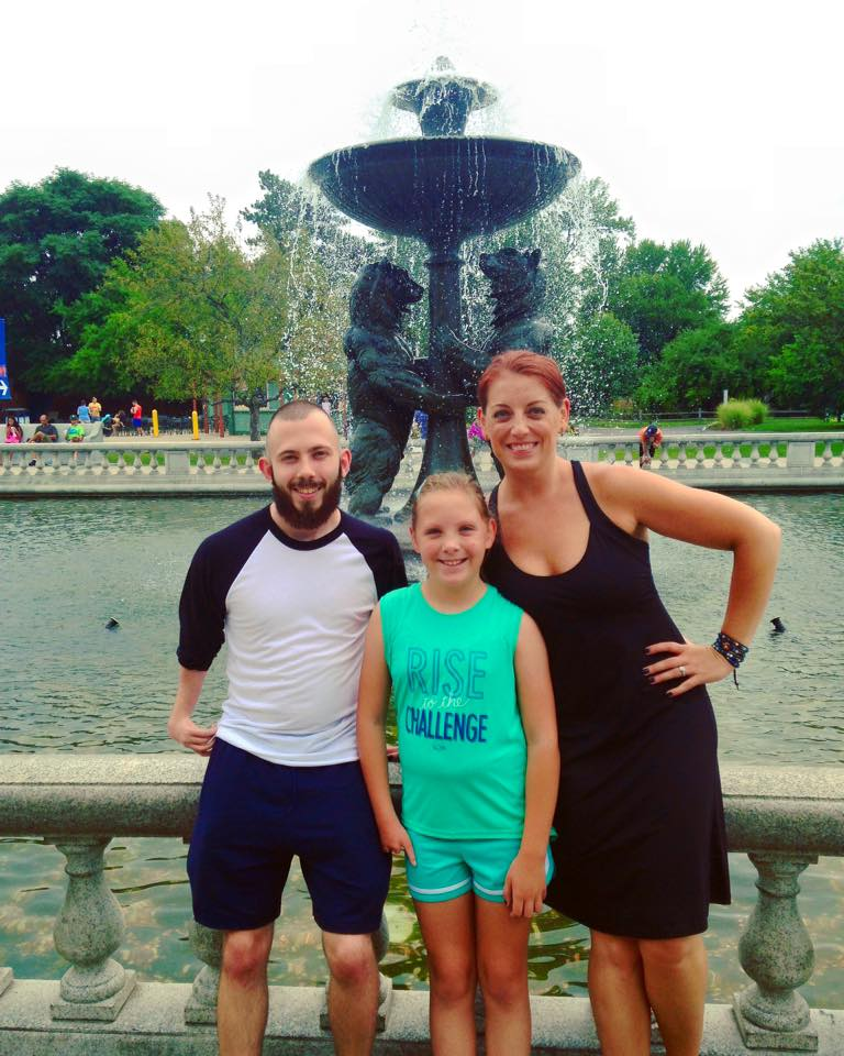 At the infamous Detroit Zoo fountain with Ryan (middle) and Molly (right).